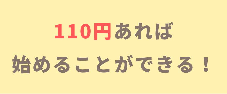 110円あれば始めることができる!
